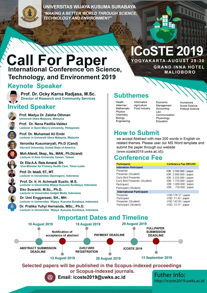 ICoSTE 2019 – Making a Better World Through Science, Technology and